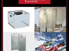 Nous proposons des kits d'écrans protecteurs en plexiglass, adaptés aux urnes et découpés dans notre atelier.